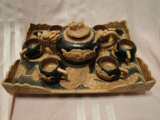 Old Chinese Dragon Stone Teaset With Mother Of Pearl Tray photo