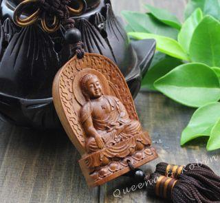 African Rosewood Carved Buddha Shakyamuni Amulet Hand Car Decor Pendant Netsuke photo