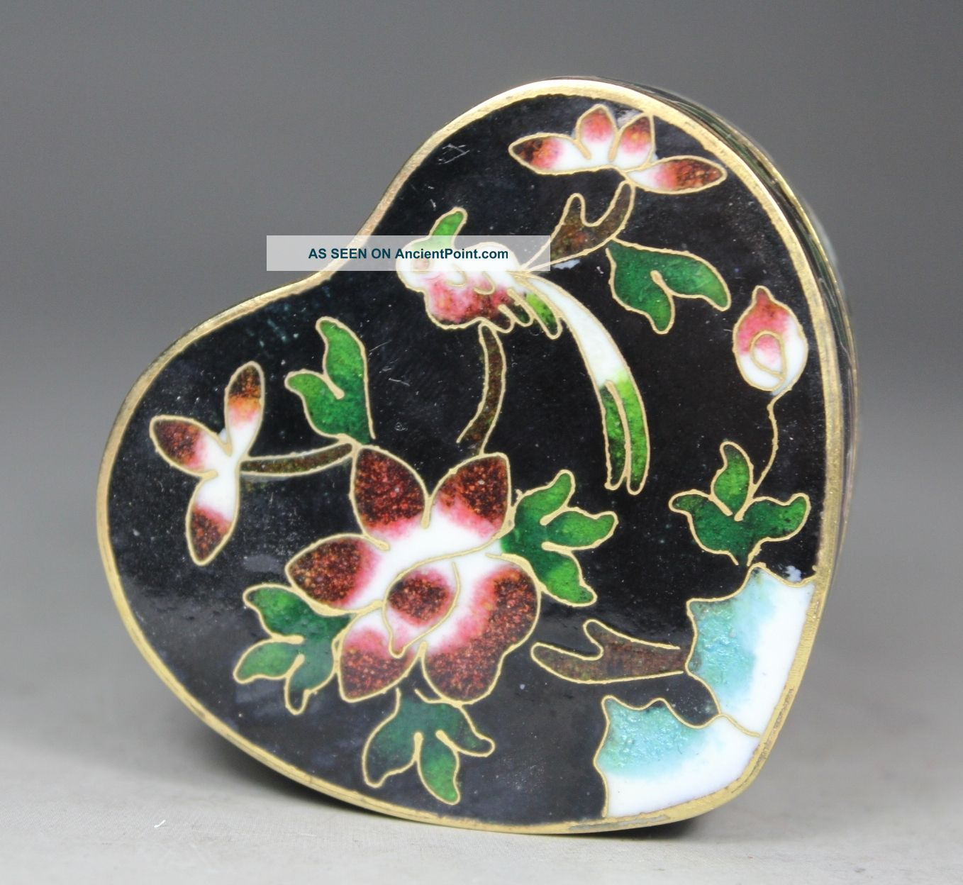 Chinese Old Cloisonne Handwork Painting Flower Bird Jewel Box Boxes photo