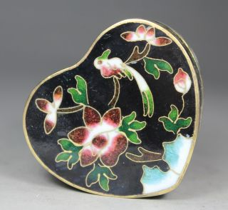 Chinese Old Cloisonne Handwork Painting Flower Bird Jewel Box photo