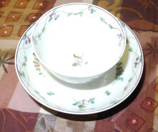 19 Century Chinese Porcelain Cup And Plate Flowers Decoration photo