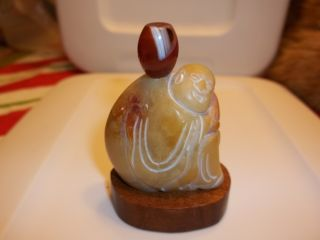 Carved Snuff Bottle Man Holding A Peach - Shoushan Stone W/ Agate Top And Stand photo