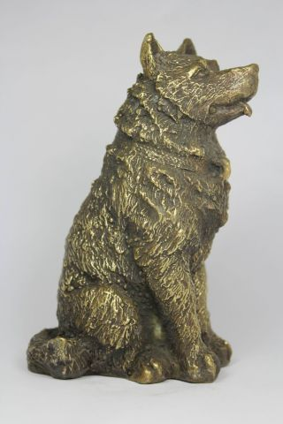 Chinese Handwork Dog Old Copper Statue photo