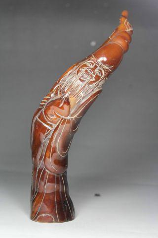 Chinese Old Bone Handwork Carving Elder Statue photo
