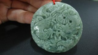 Chinese100%natural Pure Oily A Grade Jade Jadeite Pendant/dragon&phoneix Dance photo
