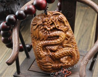 African Rosewood Carved Chinese Totem Dragon Statue Amulet Car Decor Pendant Lpd photo