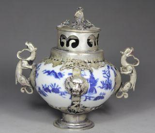 Chinese Old Blue & White Porcelain Handwork Armored Lion/ Dragon Incense Burner photo