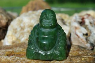 Hand Carved Vintage Chinese Spinach Green Jade Jadeite Happy Buddha Figurine photo