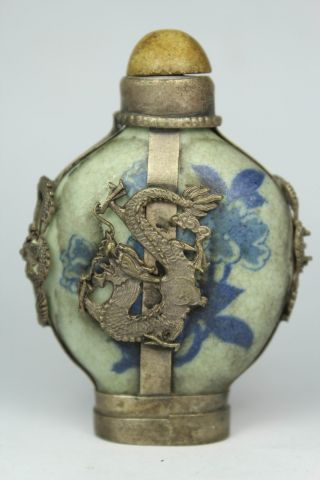 Chinese Vintage Collectibles Handwork White Jade Armored Dragon Leo Snuff Bottle