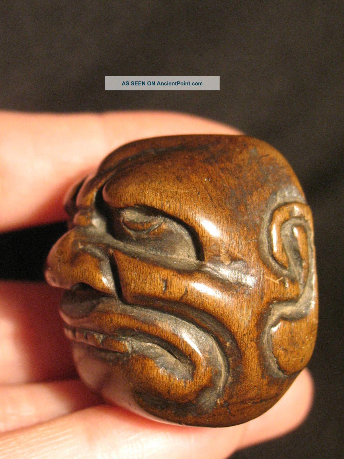 Antique Japanese Wood Netsuke Okimono Noh Mask Face Ojime,  Signed Netsuke photo