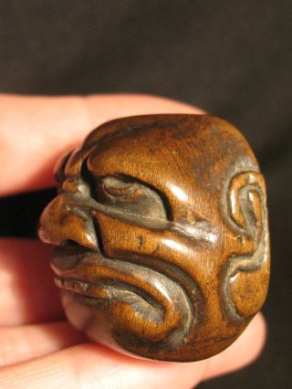 Antique Japanese Wood Netsuke Okimono Noh Mask Face Ojime,  Signed photo