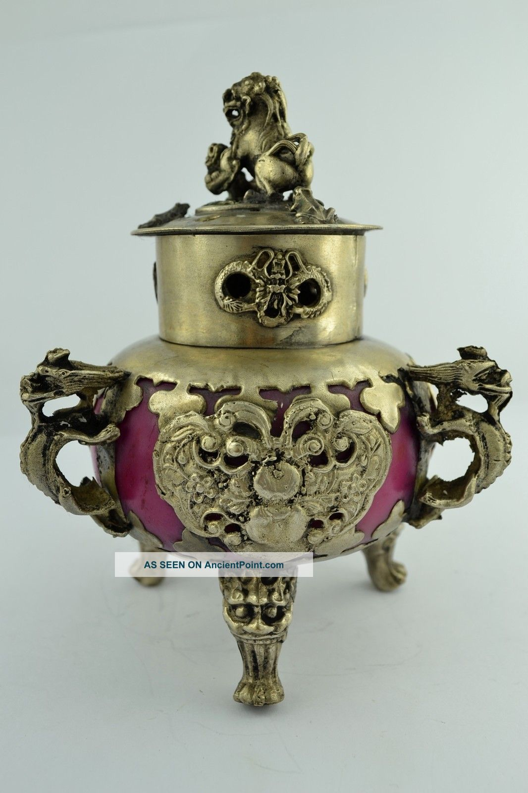 China Collectibles Old Decorated Wonderful Handwork Jade Kylin Incense Burner Other photo