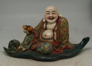 Oriental Pottery Ceramic Chinese Seated Happy Buddha - Signed - 30cm Long photo