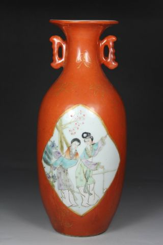 Chinese Handwork Painting Belle Old Porcelain Vase photo