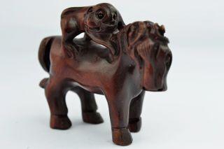 Asian Old Collectibles Decorated Handwork Boxwood Horse & Monkey Netsuke Aaaaa photo