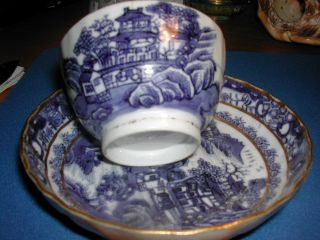 A Very Good Antique Chinese Blue And White 18th C ' Cup +saucer. photo