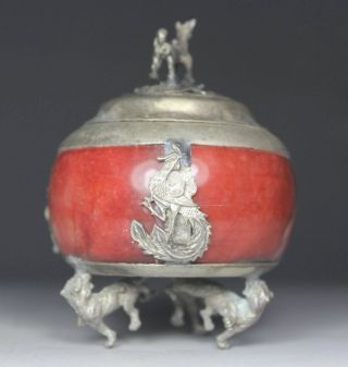 Chinese Handwork Porcelain  dragon Sheep Old Incense Burner photo