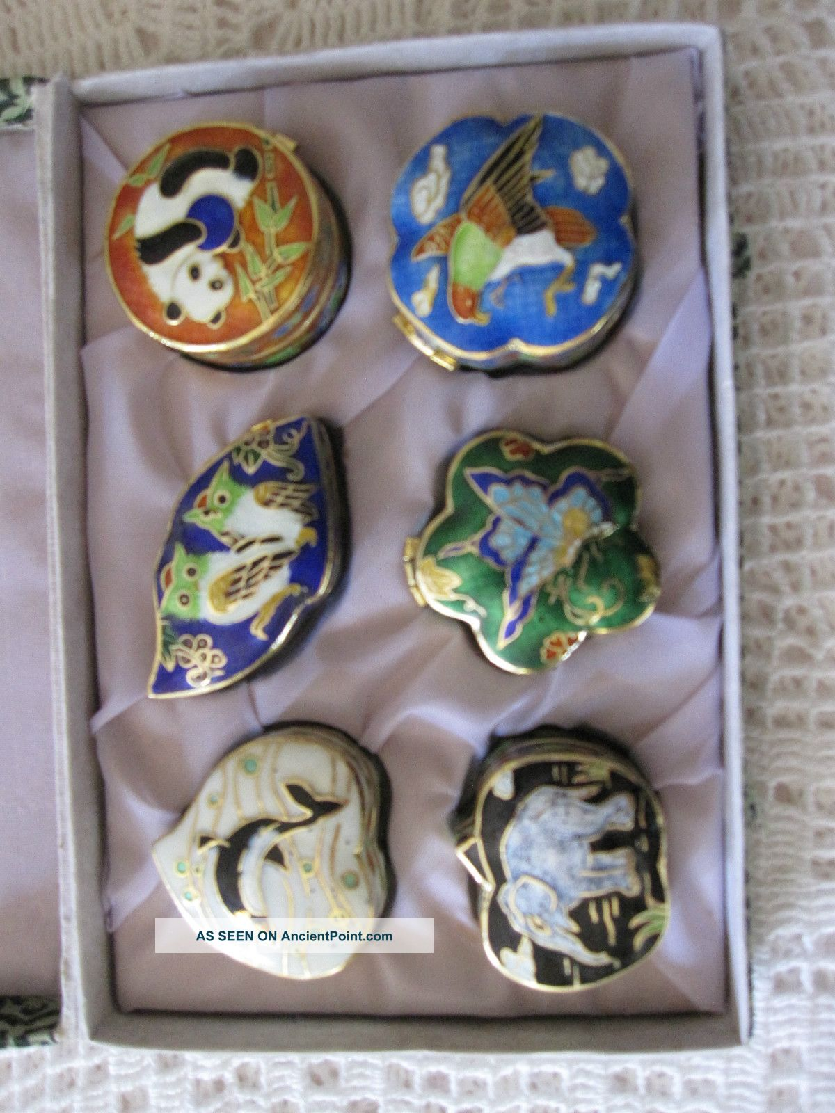 Six Cloisonne Pill Boxes In Lovely Gift Box Boxes photo