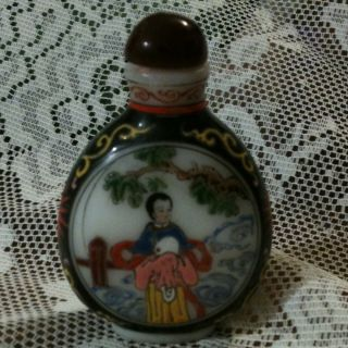 Exquisite Vintage Chinese Royalty Hand Painted Peking Glass Snuff Bottle Antique photo
