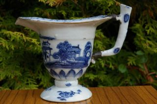 Antique Chinese Export 18c Blue And White Pouring Vessel photo