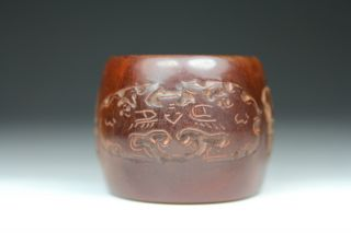 Chinese Old Ox Horn Handwork Carving Dragon Ring photo