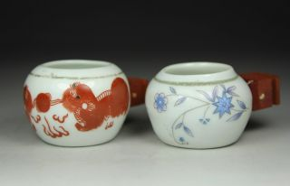 Chinese Old Porcelain Handwork Painting Kirin Flower Pair Bird Feeder Jar Pot photo