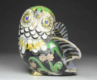 Chinese Handwork Painting Owl Old Cloisonne Statue photo