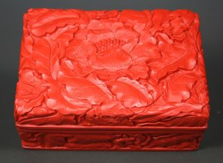 Chinese Old Lacquer Handwork Carving Flower Jewel Box photo
