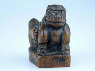 Antique Japanese Carved Wood Foo Dog Netsuke Seal - photo