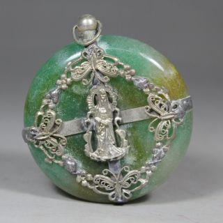Chinese Old Jade Wonderful Handwork Armored Kwan - Yin/ Butterfly Pendant photo