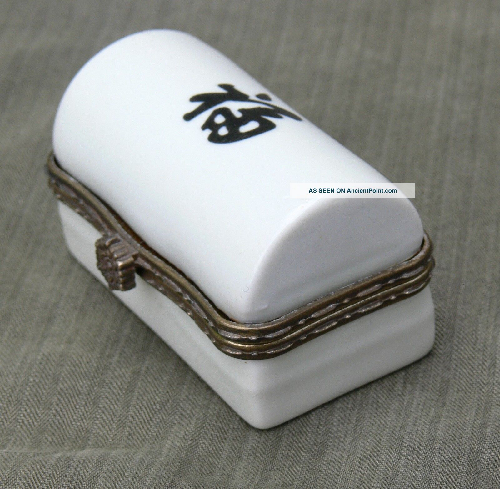 Chinese Pottery And Brass Casket Boxes photo