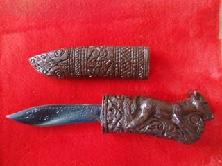 Numpee Iron Magic Knife Powerful Horse Thai Pattern Yantra Amulet Rare Antique photo