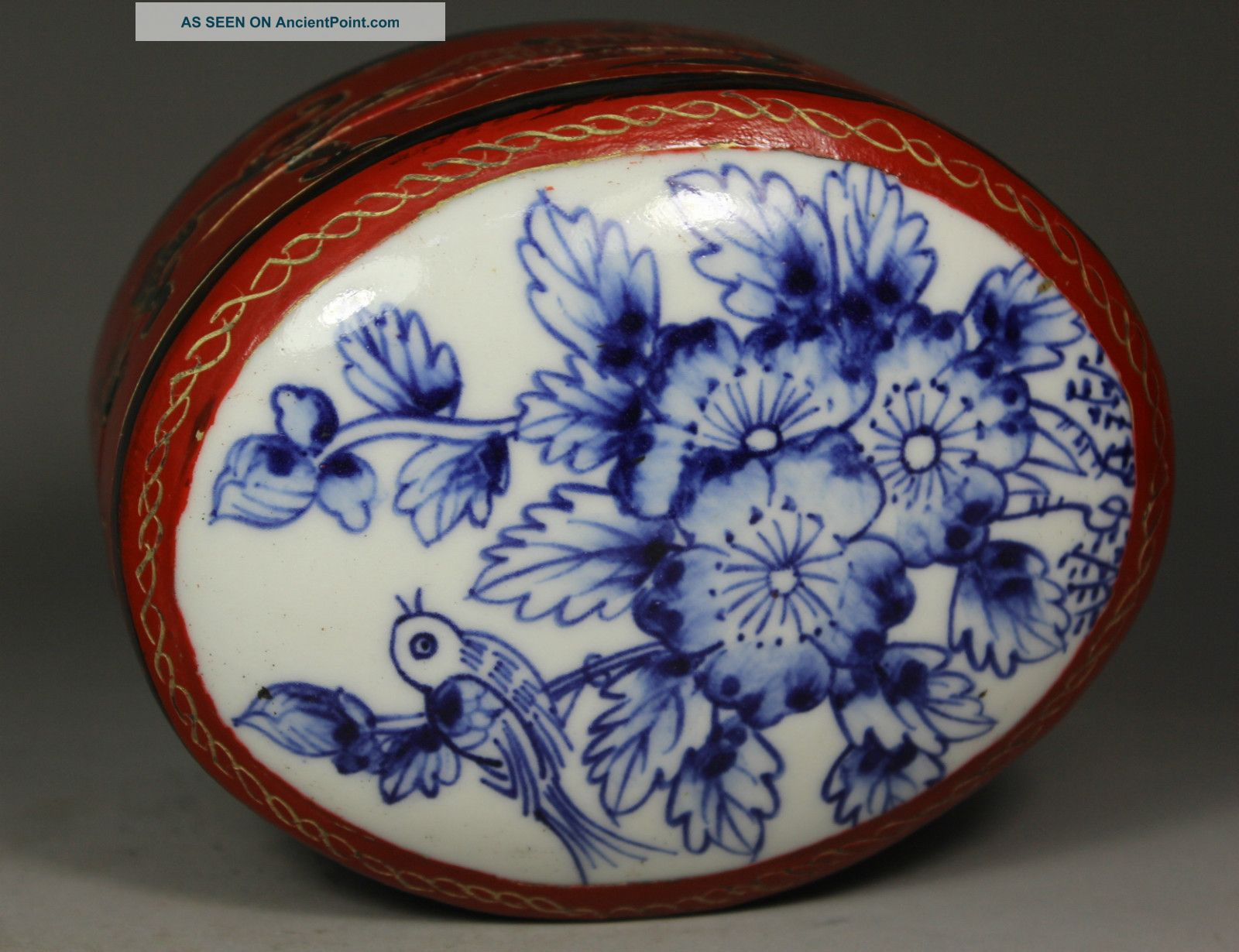 Chinese Old Porcelain Handwork Painting Flower Lacquer Jewel Box Boxes photo