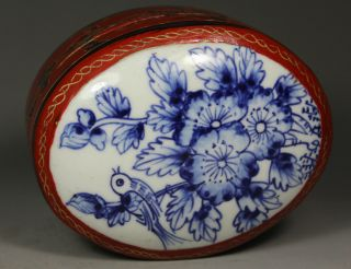 Chinese Old Porcelain Handwork Painting Flower Lacquer Jewel Box photo