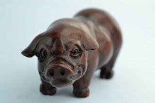 China Collectibles Old Handwork Boxwood Carving Pig Wonderful Netsuke photo