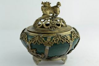 - China Collectibles Old Decorated Handwork Jade Kylin Incense Burner photo