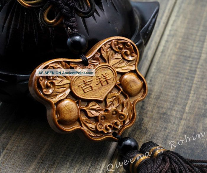 African Rosewood Carved Lucky Patterns Amulet Hand Car Decor Pendant Netsuke Buddha photo