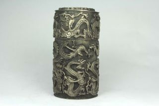 Chinese Old Tibet Silver Wonderful Handwork Armored Dragon Snuff Box photo