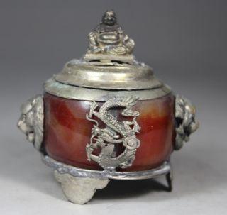 Chinese Handwork Dragon Phoenix Old Jade Incense Burner photo