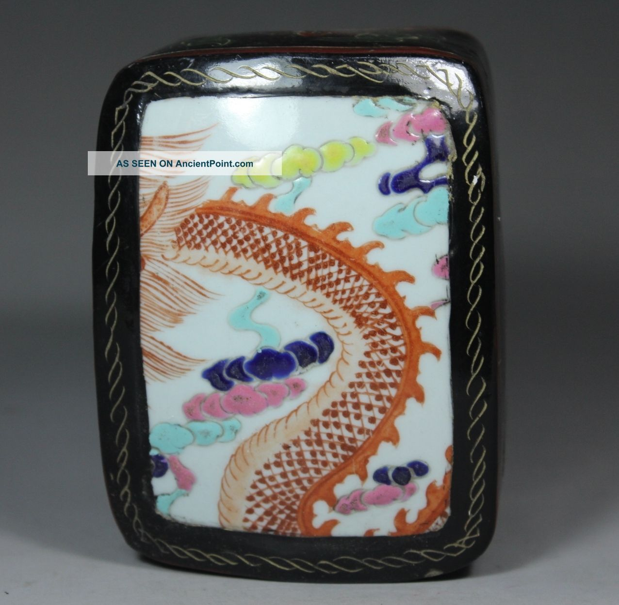 Chinese Handwork Painting Flower Dragon Old Lacquer Jewel Box Boxes photo