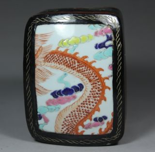 Chinese Handwork Painting Flower Dragon Old Lacquer Jewel Box photo
