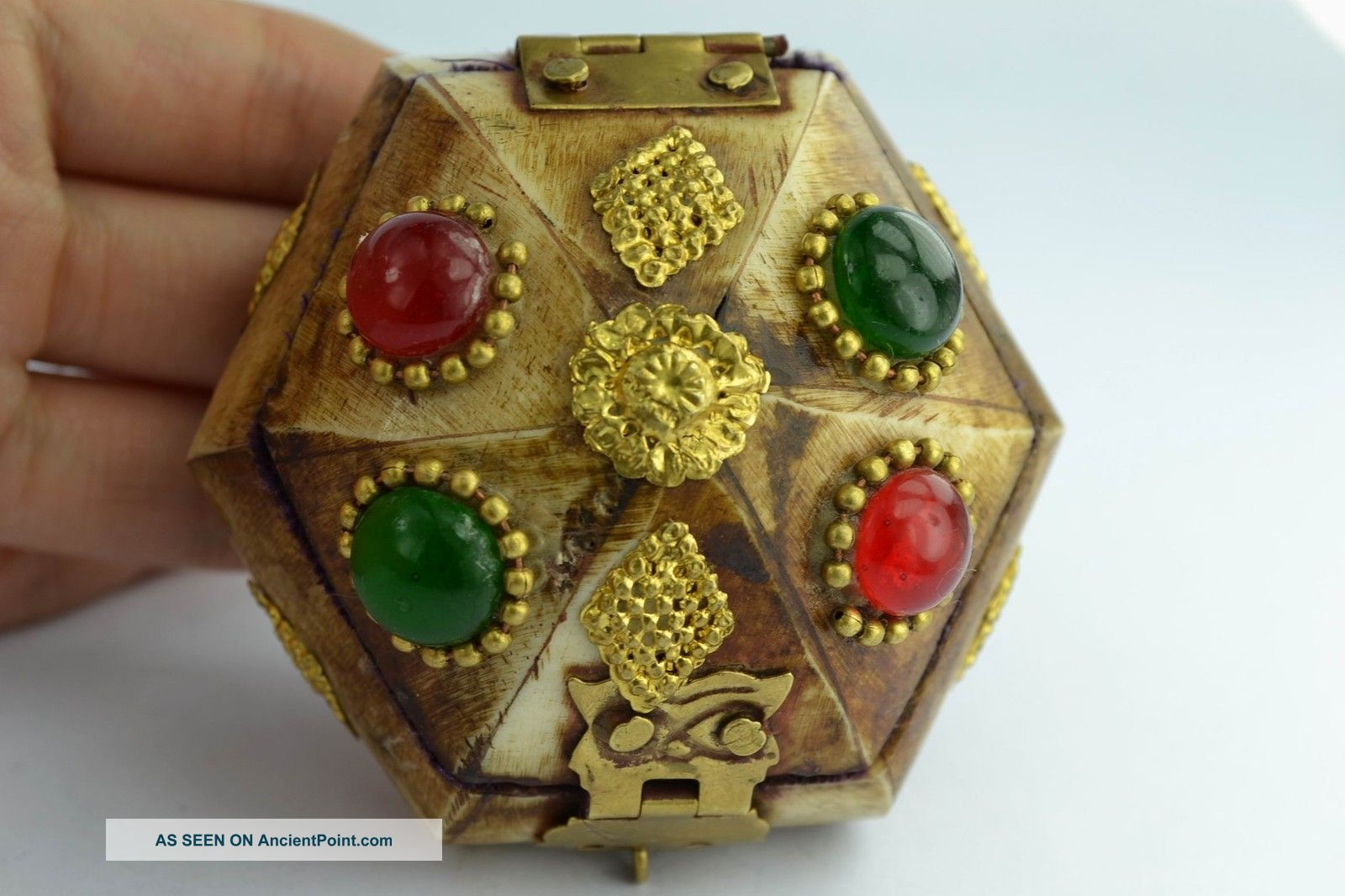Asian Old Collectibles Decorated Wonderful Handwork Beaded Ring Box Aaaaa Boxes photo