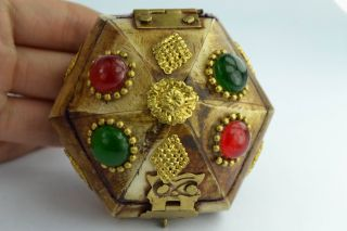Asian Old Collectibles Decorated Wonderful Handwork Beaded Ring Box Aaaaa photo