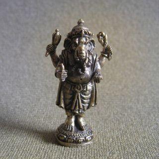 Mini Elephant God Ganesha Ganesh Unique Successful Lucky Charm Hindu Thai Amulet photo