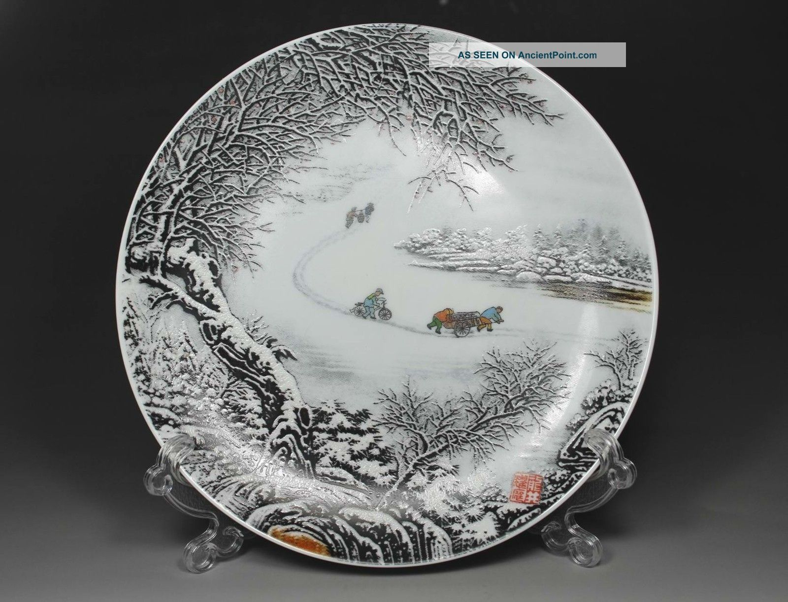Chinese Old Porcelain Handwork Painting Snow - Covered Landscape Decoration Plate Uncategorized photo