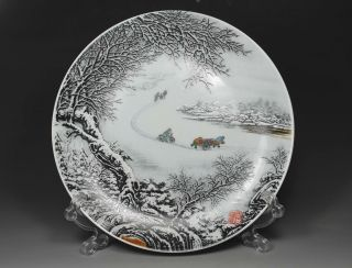 Chinese Old Porcelain Handwork Painting Snow - Covered Landscape Decoration Plate photo