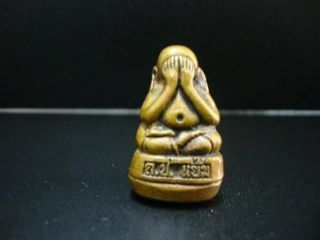 Thai Amulet Buddha Phra Pidta Pendant Brass Bangkok Lucky Amulets photo