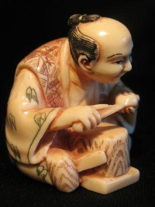 Antique Japanese 象牙 Ox Bone Netsuke Man W.  Tools Carving A Mask Maskmaker,  Signed photo