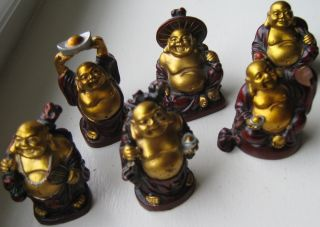 Set Of Six Buddha Figures Gold & Red Wood Varied Poses/meanings Exceptional photo