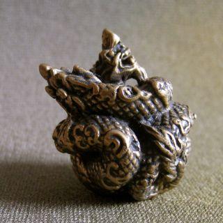 Twin Naga King Wealth Rich Lucky Charm Thai Amulet photo